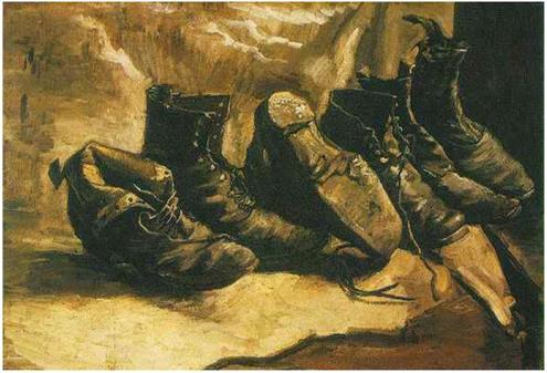 Fig. 5: Three Pairs of Shoes (Vincent Van Gogh, 1886-1887).