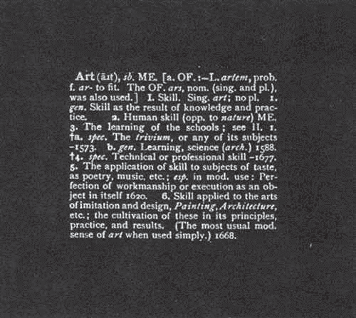 Joseph Kosuth, Art As Idea As Idea, 1967. Black and white photographs mounted on board, 120 x 120 cm.