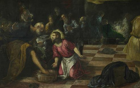 Fig. 6: Christ Washing the Disciples' Feet (detail) (Jacopo Tintoretto, 1575-1580).